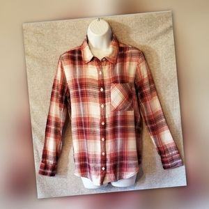 MUDD Plaid Flannel Shirt Button Down Brick Red
